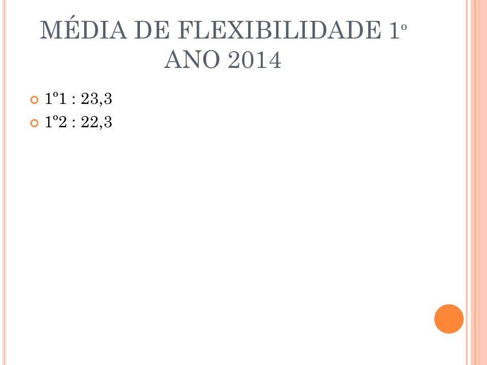 MÉDIA DE FLEXIBILIDADE 1 º ANO 2014 1º1 : 23,3 1º2 : 22,3