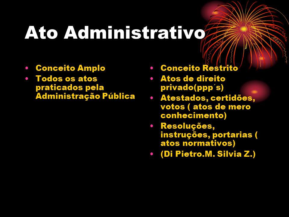 Ato Administrativo Conceito Amplo Todos os atos praticados pela Administração Pública Conceito Restrito Atos de direito privado(ppp´s) Atestados, cert