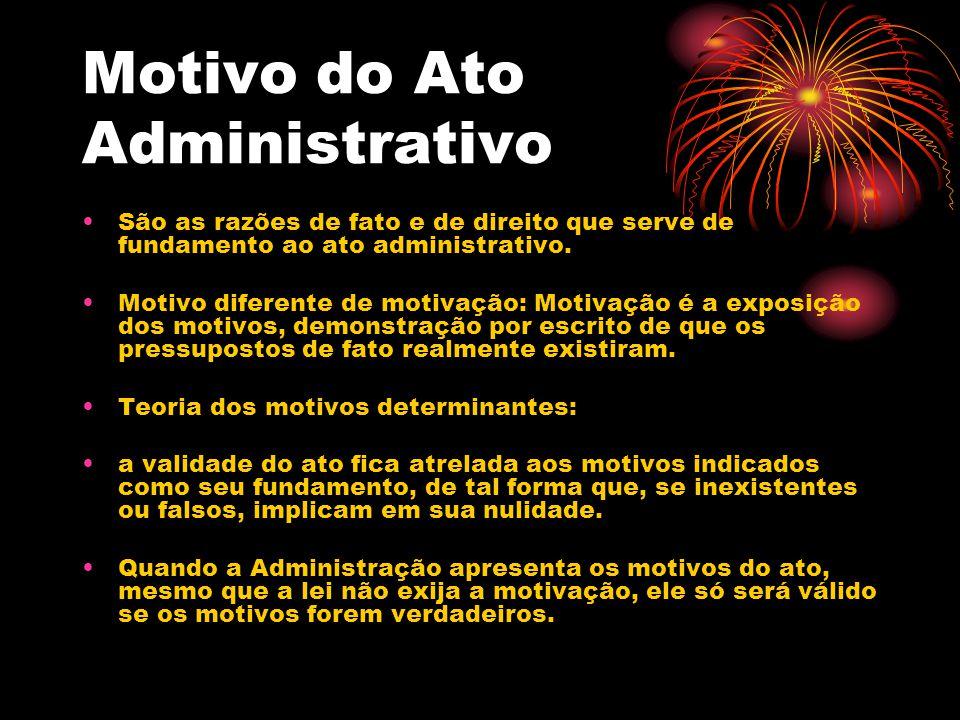 Motivo do Ato Administrativo São as razões de fato e de direito que serve de fundamento ao ato administrativo. Motivo diferente de motivação: Motivaçã