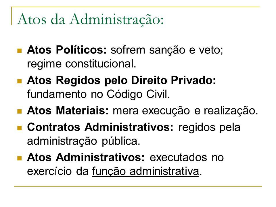 Atos da Administração: Atos Políticos: sofrem sanção e veto; regime constitucional.