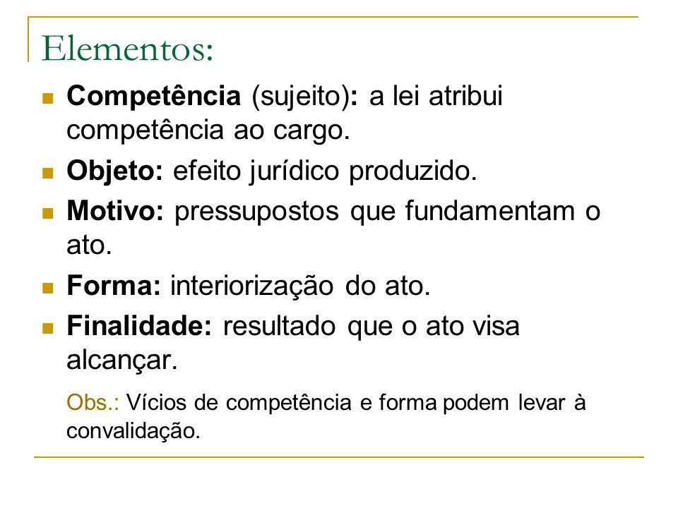Elementos: Competência (sujeito): a lei atribui competência ao cargo. Objeto: efeito jurídico produzido. Motivo: pressupostos que fundamentam o ato. F