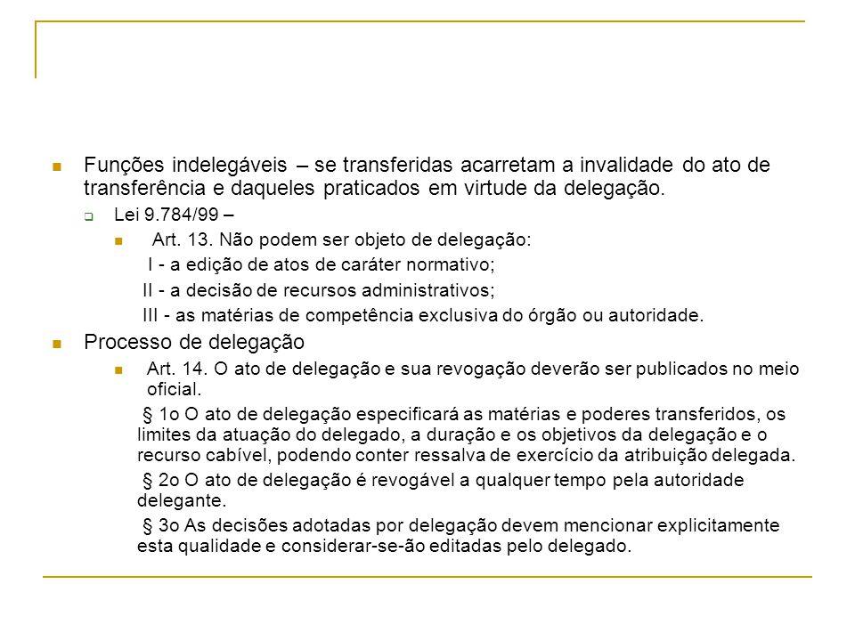 Funções indelegáveis – se transferidas acarretam a invalidade do ato de transferência e daqueles praticados em virtude da delegação.  Lei 9.784/99 –
