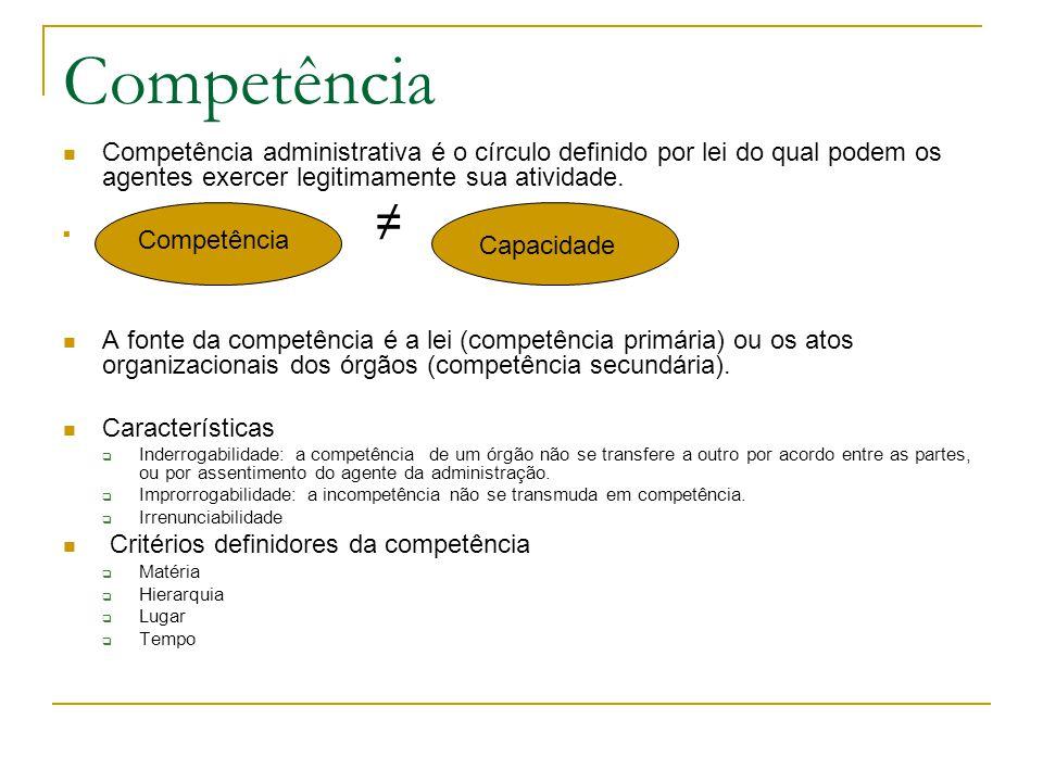 Competência Competência administrativa é o círculo definido por lei do qual podem os agentes exercer legitimamente sua atividade. ≠ A fonte da competê