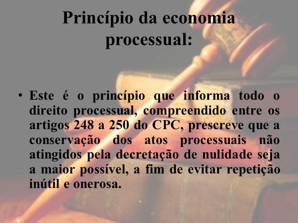 Princípio da economia processual: Este é o princípio que informa todo o direito processual, compreendido entre os artigos 248 a 250 do CPC, prescreve