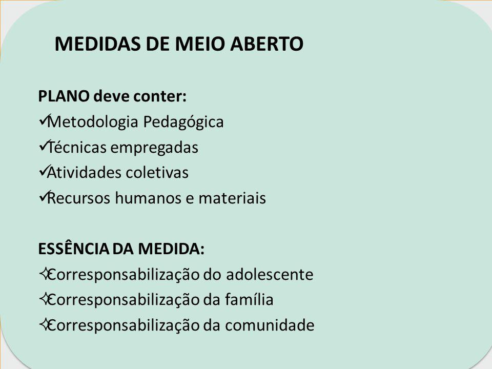 MEDIDAS DE MEIO ABERTO EXIGÊNCIAS DO ECA: Art.