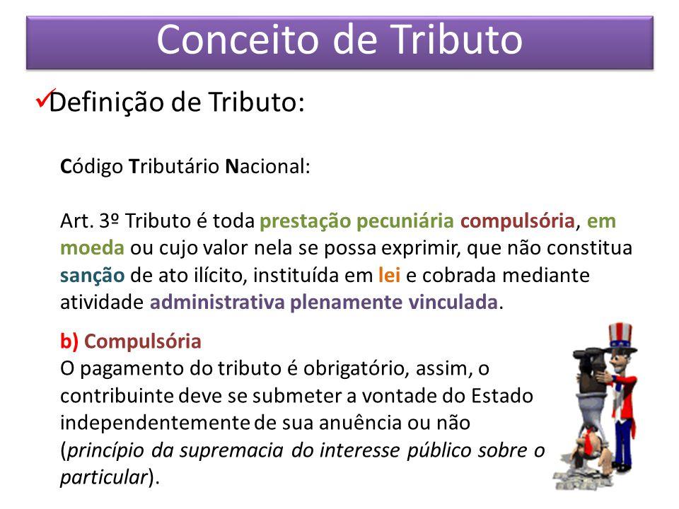 Definição de Tributo: Código Tributário Nacional: Art. 3º Tributo é toda prestação pecuniária compulsória, em moeda ou cujo valor nela se possa exprim