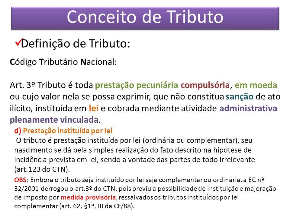 GESTÃO TRIBUTÁRIA Definição de Tributo: Código Tributário Nacional: Art.