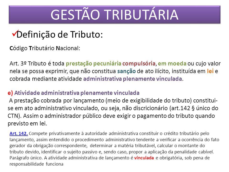 GESTÃO TRIBUTÁRIA Definição de Tributo: Código Tributário Nacional: Art. 3º Tributo é toda prestação pecuniária compulsória, em moeda ou cujo valor ne
