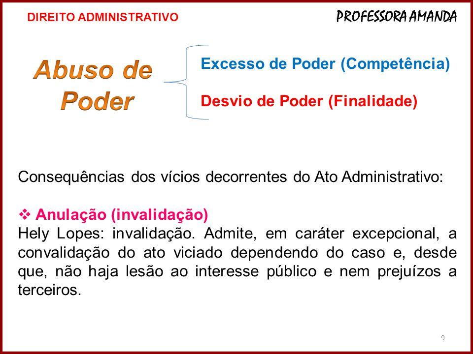 9 Excesso de Poder (Competência) Desvio de Poder (Finalidade) Consequências dos vícios decorrentes do Ato Administrativo:  Anulação (invalidação) Hel