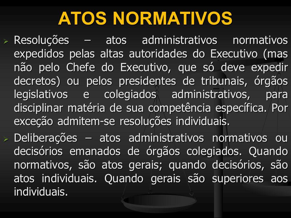 ATOS NORMATIVOS  Resoluções – atos administrativos normativos expedidos pelas altas autoridades do Executivo (mas não pelo Chefe do Executivo, que só