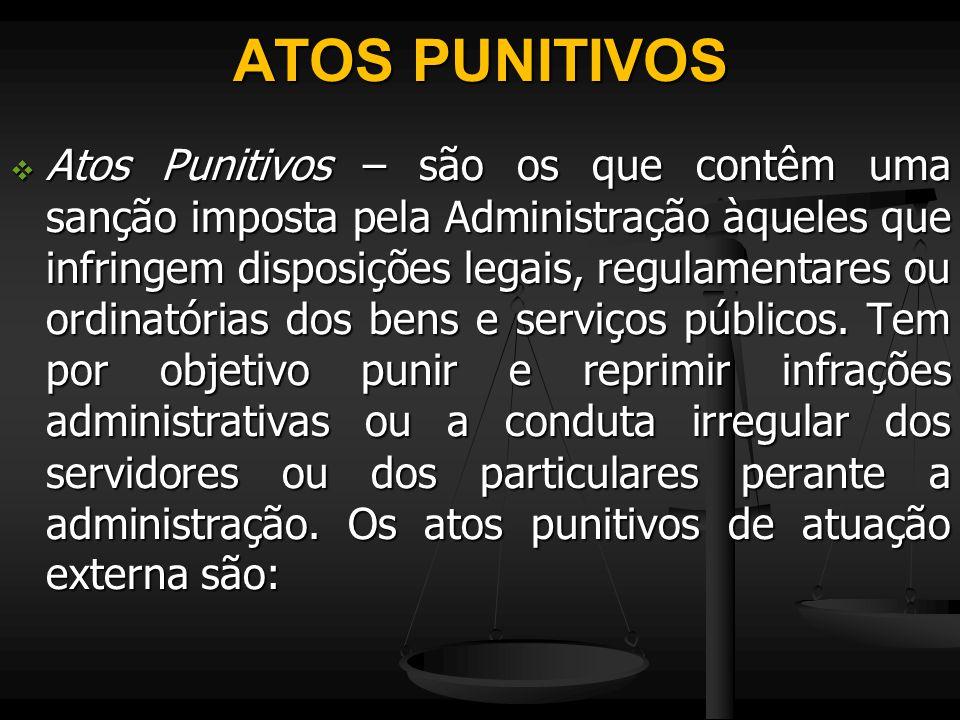 ATOS PUNITIVOS  Atos Punitivos – são os que contêm uma sanção imposta pela Administração àqueles que infringem disposições legais, regulamentares ou