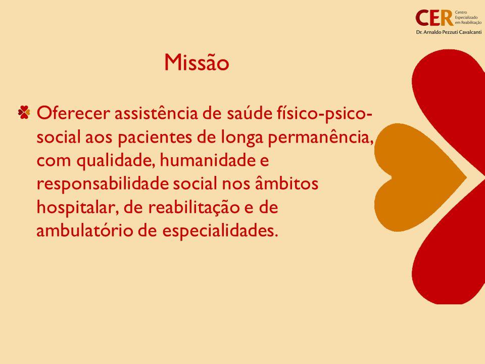 Missão Oferecer assistência de saúde físico-psico- social aos pacientes de longa permanência, com qualidade, humanidade e responsabilidade social nos âmbitos hospitalar, de reabilitação e de ambulatório de especialidades.