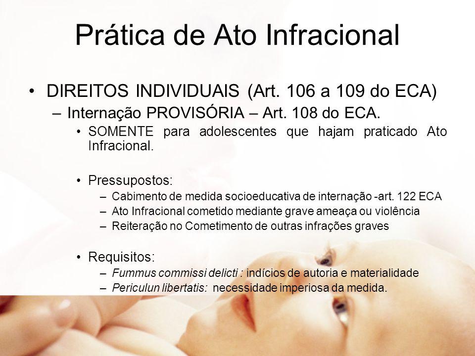 Prática de Ato Infracional DIREITOS INDIVIDUAIS (Art. 106 a 109 do ECA) –Internação PROVISÓRIA – Art. 108 do ECA. SOMENTE para adolescentes que hajam