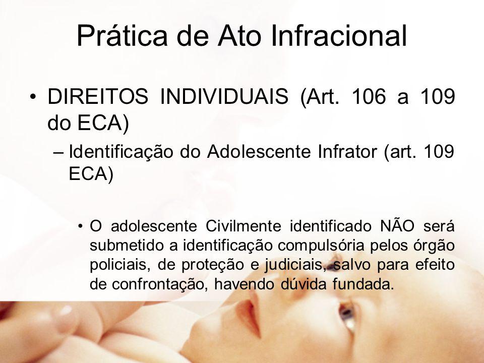 Prática de Ato Infracional DIREITOS INDIVIDUAIS (Art. 106 a 109 do ECA) –Identificação do Adolescente Infrator (art. 109 ECA) O adolescente Civilmente