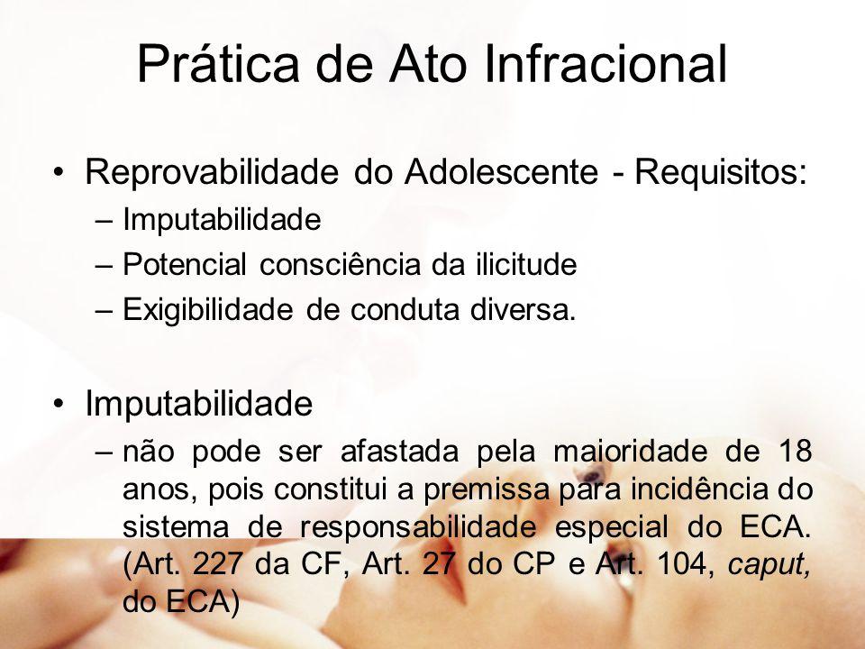 Prática de Ato Infracional Reprovabilidade do Adolescente - Requisitos: –Imputabilidade –Potencial consciência da ilicitude –Exigibilidade de conduta diversa.