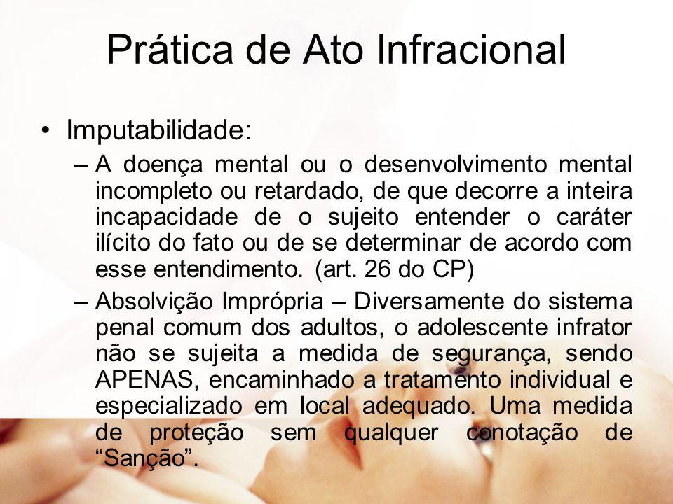 Prática de Ato Infracional Imputabilidade: –A doença mental ou o desenvolvimento mental incompleto ou retardado, de que decorre a inteira incapacidade