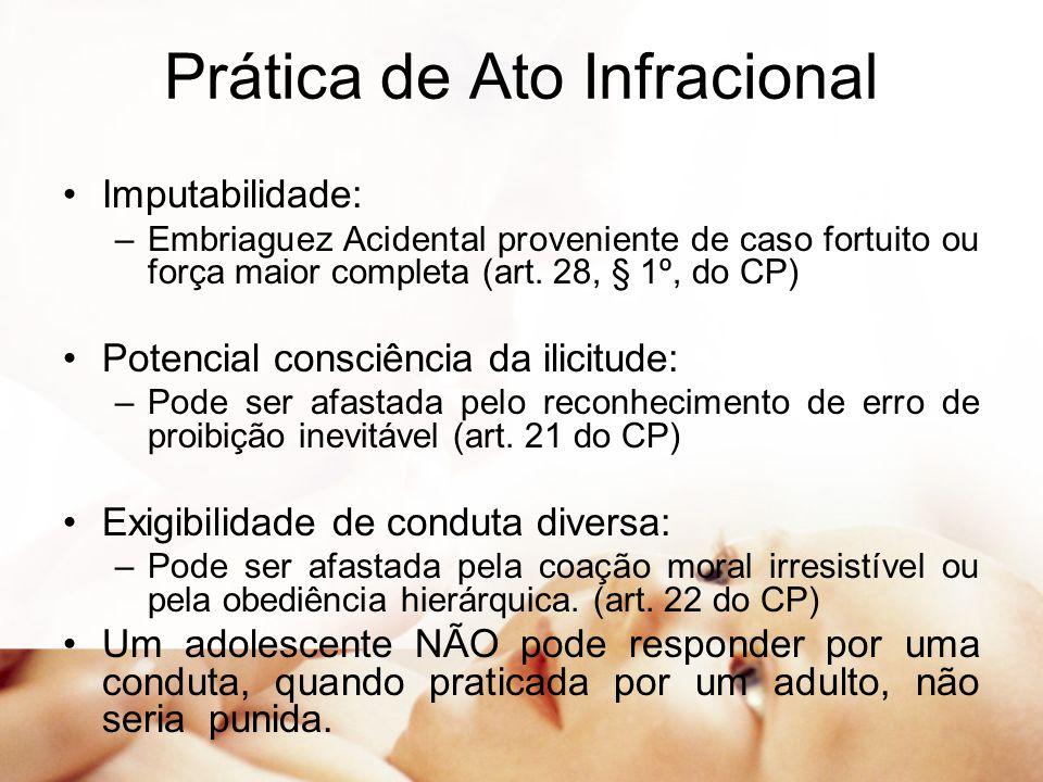 Prática de Ato Infracional Imputabilidade: –Embriaguez Acidental proveniente de caso fortuito ou força maior completa (art. 28, § 1º, do CP) Potencial
