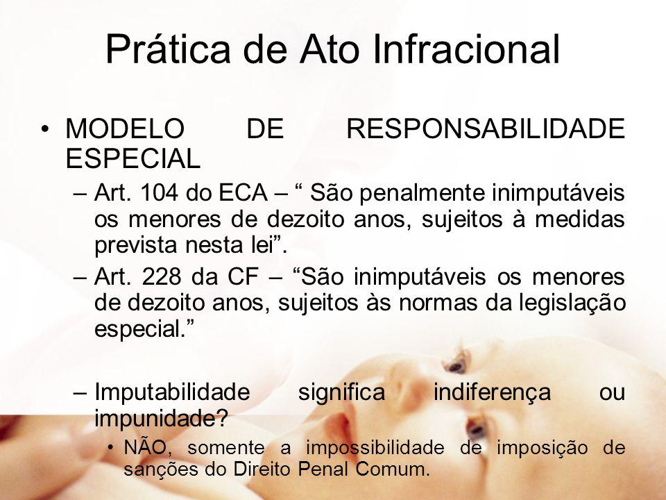 """Prática de Ato Infracional MODELO DE RESPONSABILIDADE ESPECIAL –Art. 104 do ECA – """" São penalmente inimputáveis os menores de dezoito anos, sujeitos à"""