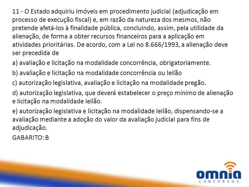 11 - O Estado adquiriu imóveis em procedimento judicial (adjudicação em processo de execução fiscal) e, em razão da natureza dos mesmos, não pretende