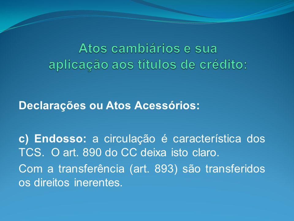 Declarações ou Atos Acessórios: c) Endosso: a circulação é característica dos TCS. O art. 890 do CC deixa isto claro. Com a transferência (art. 893) s