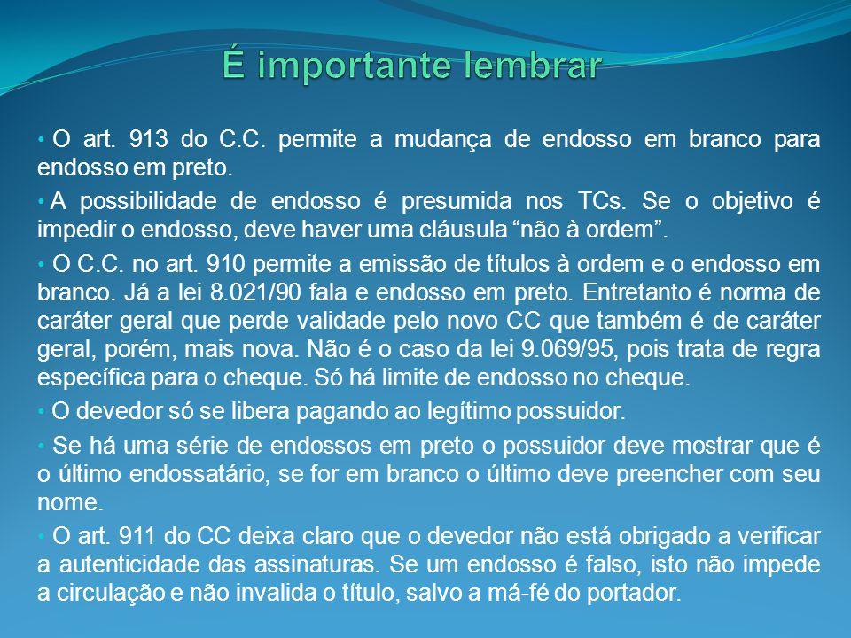 O art. 913 do C.C. permite a mudança de endosso em branco para endosso em preto. A possibilidade de endosso é presumida nos TCs. Se o objetivo é imped
