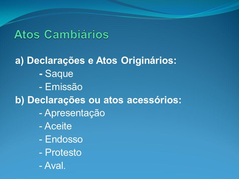 a) Declarações e Atos Originários: - Saque - Emissão b) Declarações ou atos acessórios: - Apresentação - Aceite - Endosso - Protesto - Aval.