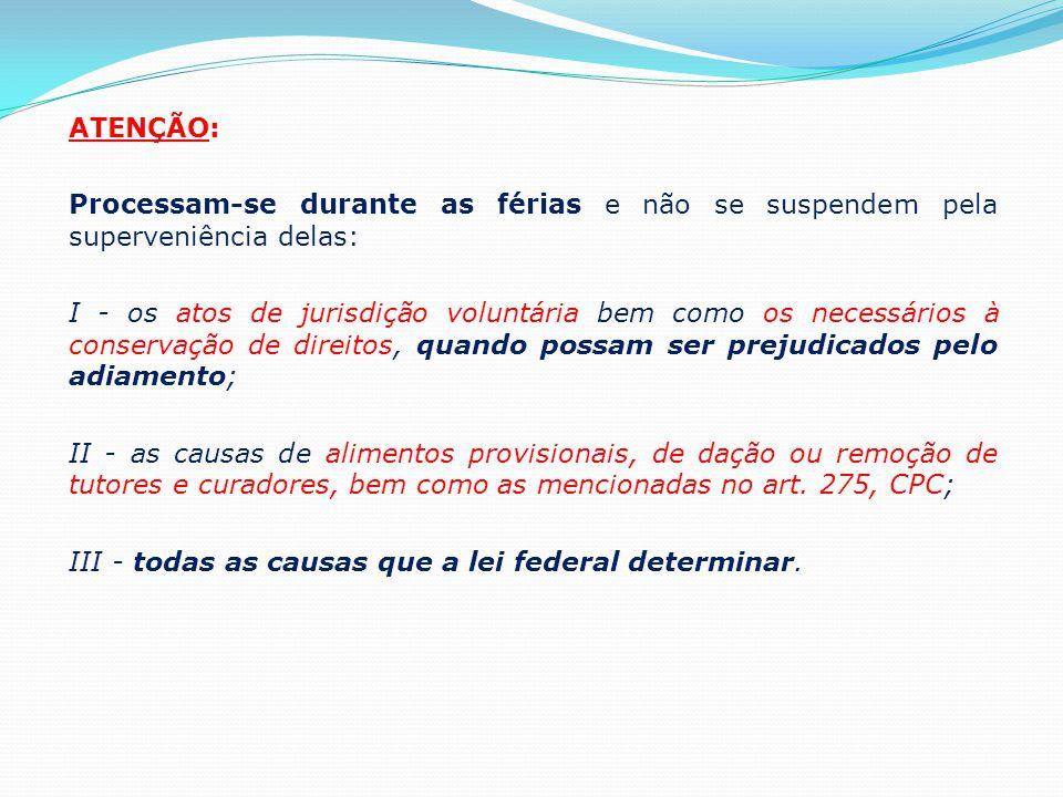 ATENÇÃO: Processam-se durante as férias e não se suspendem pela superveniência delas: I - os atos de jurisdição voluntária bem como os necessários à c