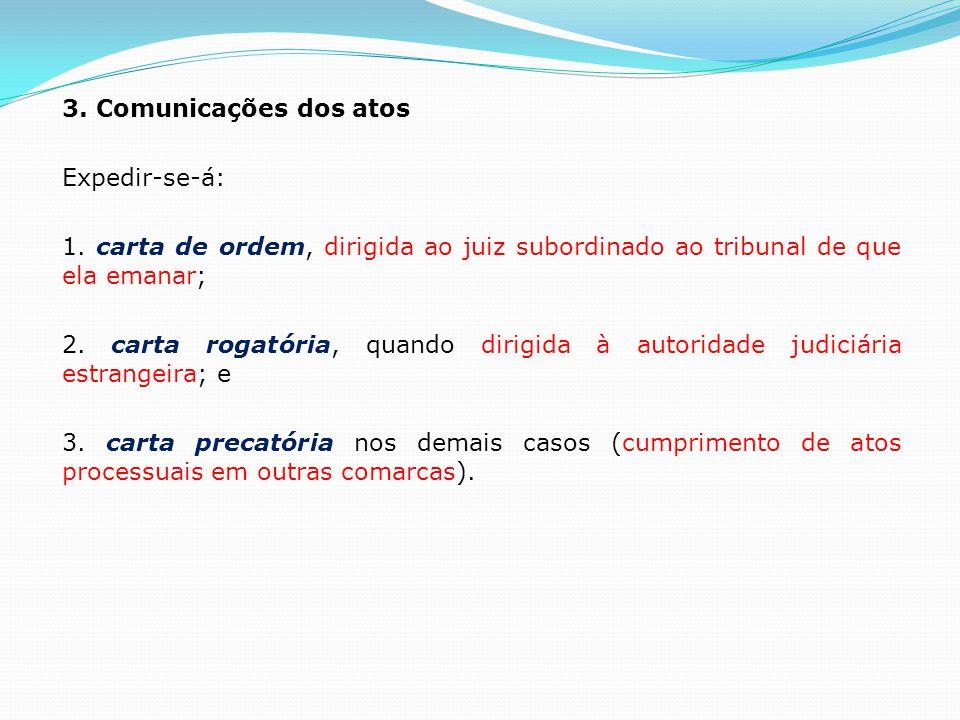 3. Comunicações dos atos Expedir-se-á: 1. carta de ordem, dirigida ao juiz subordinado ao tribunal de que ela emanar; 2. carta rogatória, quando dirig