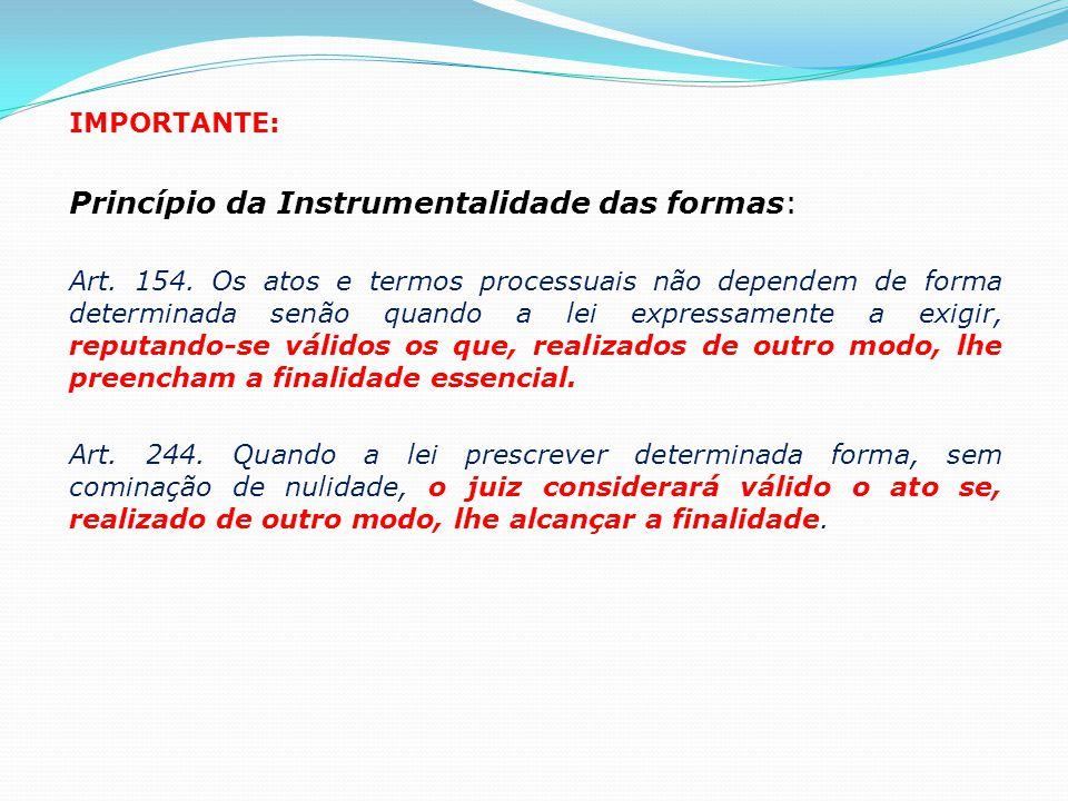 IMPORTANTE: Princípio da Instrumentalidade das formas: Art. 154. Os atos e termos processuais não dependem de forma determinada senão quando a lei exp
