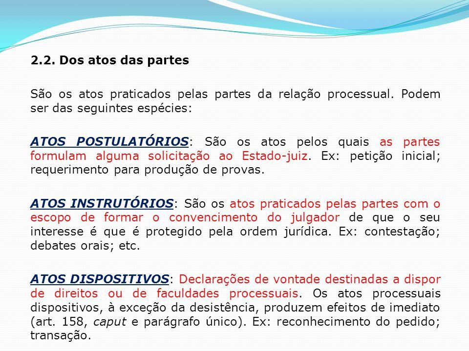 2.2. Dos atos das partes São os atos praticados pelas partes da relação processual. Podem ser das seguintes espécies: ATOS POSTULATÓRIOS: São os atos
