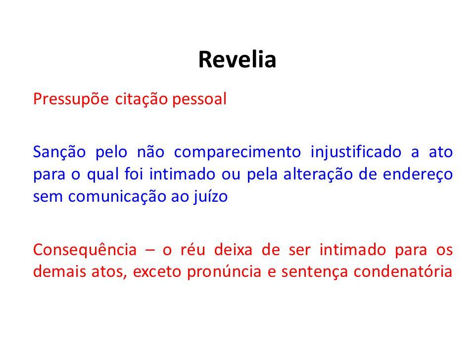 Revelia Pressupõe citação pessoal Sanção pelo não comparecimento injustificado a ato para o qual foi intimado ou pela alteração de endereço sem comuni