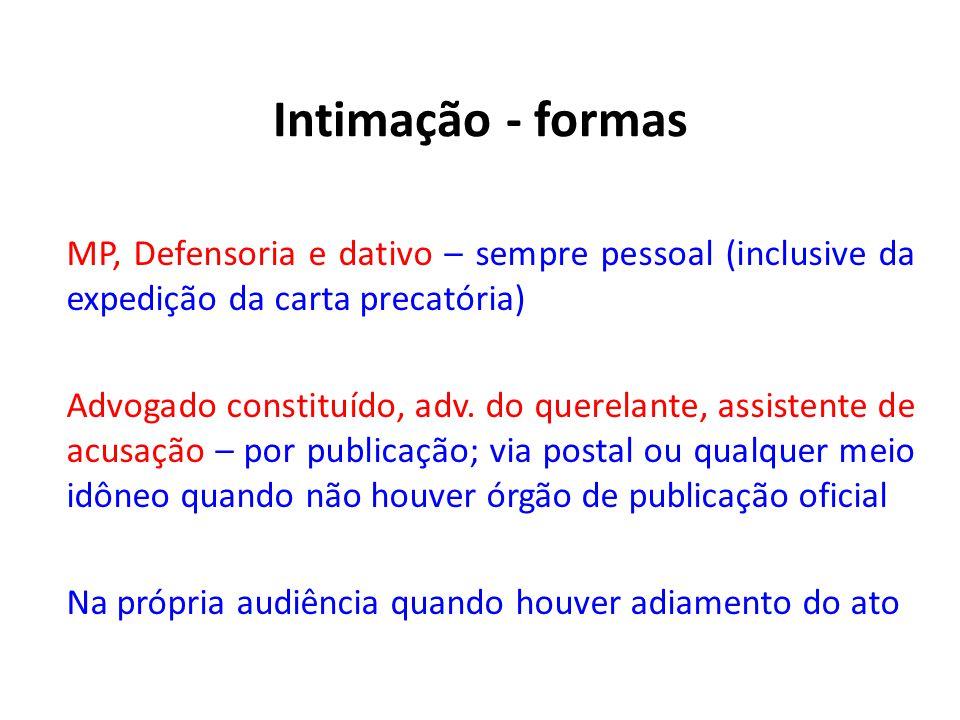 Intimação - formas MP, Defensoria e dativo – sempre pessoal (inclusive da expedição da carta precatória) Advogado constituído, adv. do querelante, ass