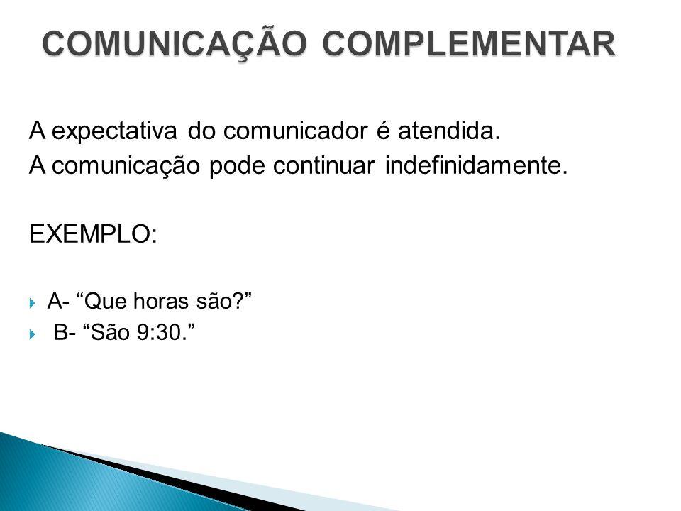"""A expectativa do comunicador é atendida. A comunicação pode continuar indefinidamente. EXEMPLO:  A- """"Que horas são?""""  B- """"São 9:30."""""""