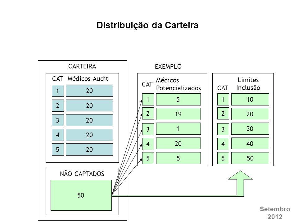 Setembro 2012 20 Médicos Audit NÃO CAPTADOS CARTEIRA 1 2 3 4 5 5 19 1 20 5 1 2 3 4 5 10 20 30 40 50 1 2 3 4 5 Distribuição da Carteira EXEMPLO CAT Méd