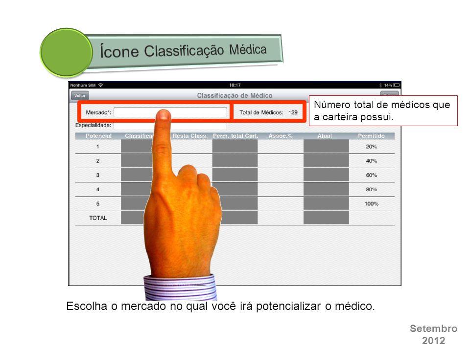 Setembro 2012 Número total de médicos que a carteira possui. Escolha o mercado no qual você irá potencializar o médico.