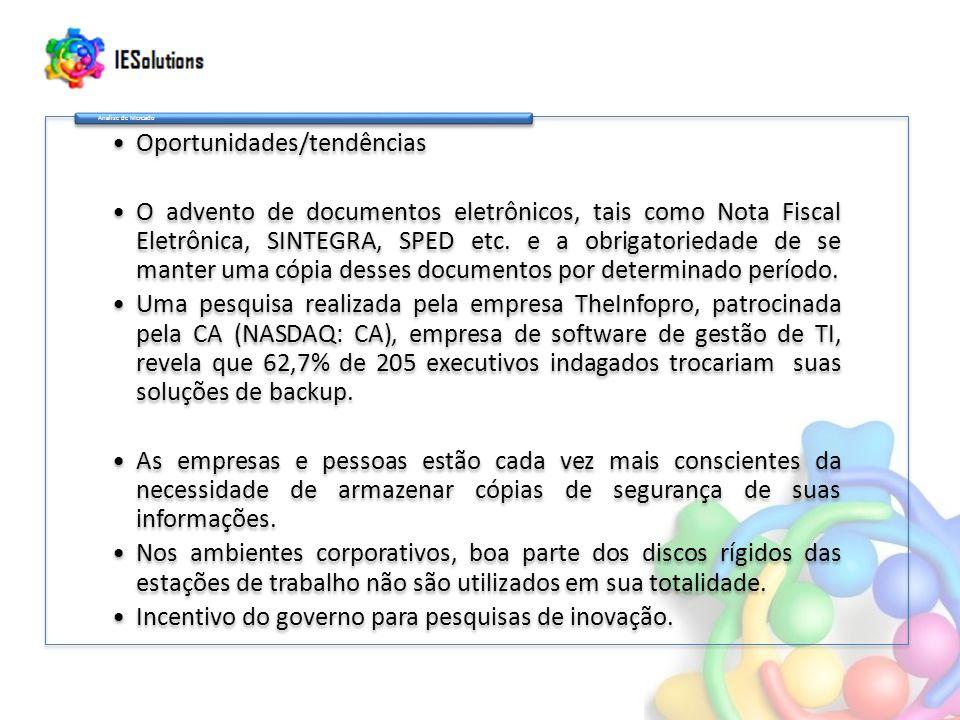 Oportunidades/tendências O advento de documentos eletrônicos, tais como Nota Fiscal Eletrônica, SINTEGRA, SPED etc.