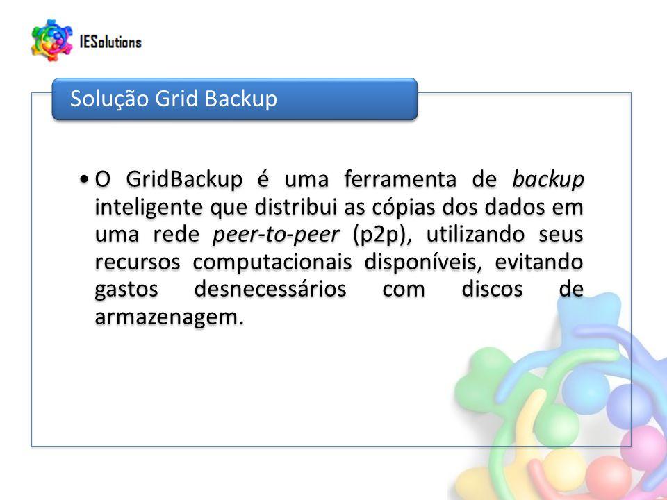 O GridBackup é uma ferramenta de backup inteligente que distribui as cópias dos dados em uma rede peer-to-peer (p2p), utilizando seus recursos computacionais disponíveis, evitando gastos desnecessários com discos de armazenagem.