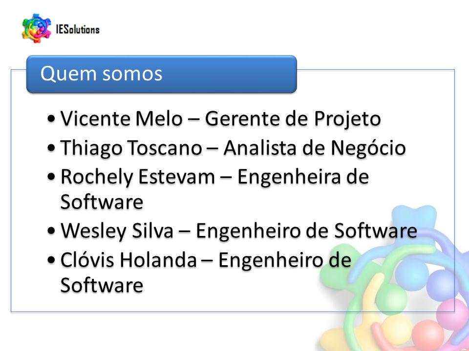 Vicente Melo – Gerente de Projeto Thiago Toscano – Analista de Negócio Rochely Estevam – Engenheira de Software Wesley Silva – Engenheiro de Software Clóvis Holanda – Engenheiro de Software Quem somos