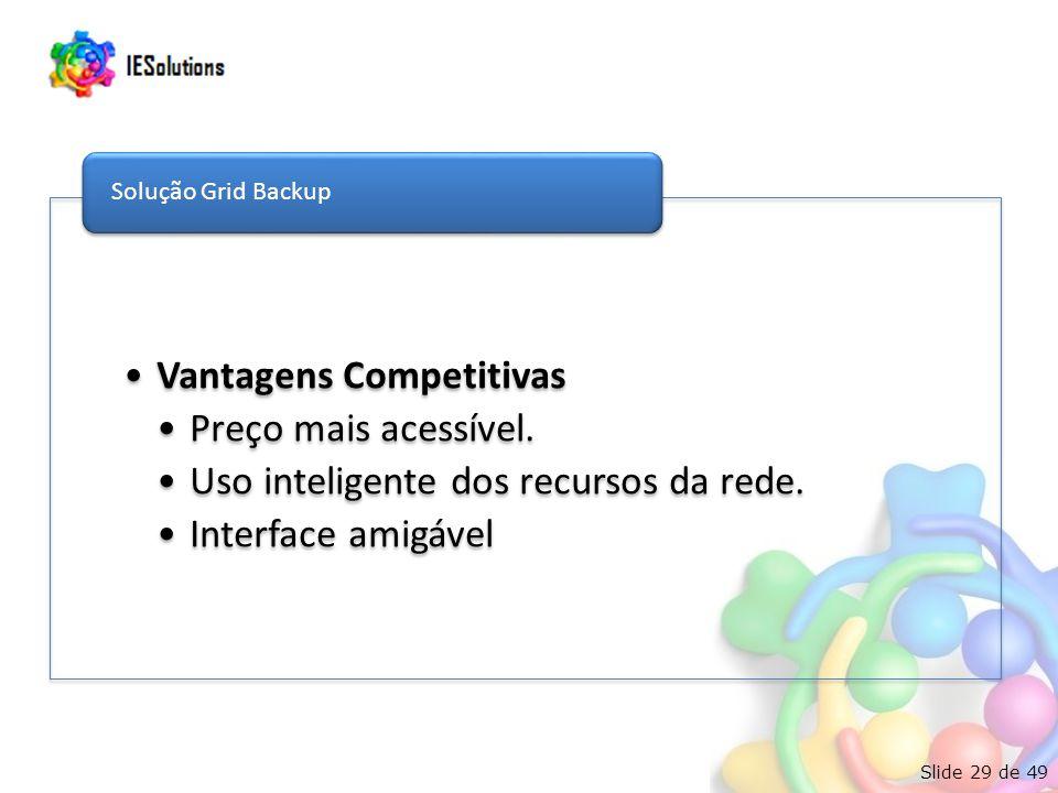 Slide 29 de 49 Vantagens Competitivas Preço mais acessível. Uso inteligente dos recursos da rede. Interface amigável Solução Grid Backup