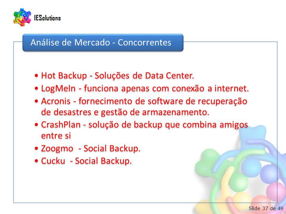 Slide 37 de 49 Hot Backup - Soluções de Data Center. LogMeIn - funciona apenas com conexão a internet. Acronis - fornecimento de software de recuperaç