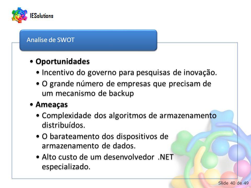 Slide 40 de 49 Oportunidades Incentivo do governo para pesquisas de inovação. O grande número de empresas que precisam de um mecanismo de backup Ameaç