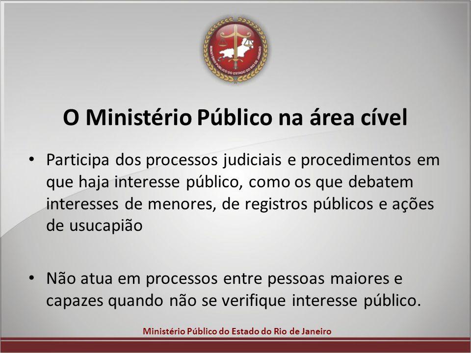 Ministério Público do Estado do Rio de Janeiro O Ministério Público na área cível Participa dos processos judiciais e procedimentos em que haja intere