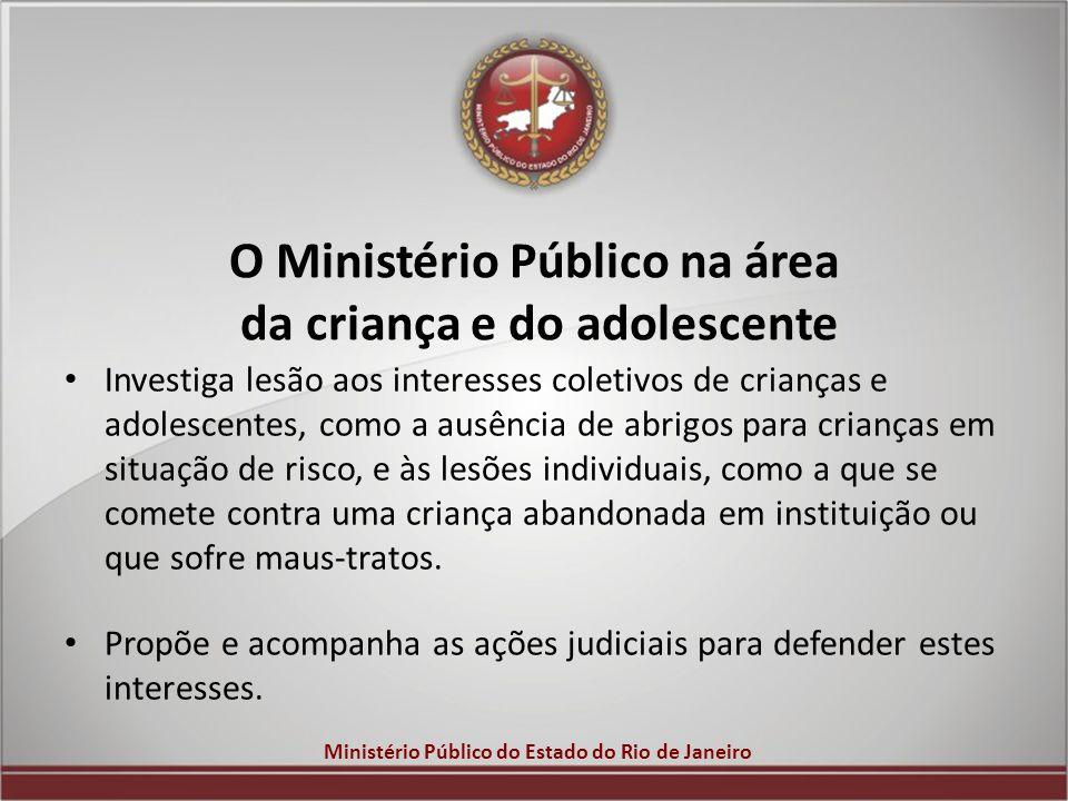 Ministério Público do Estado do Rio de Janeiro O Ministério Público na área da criança e do adolescente Investiga lesão aos interesses coletivos de cr