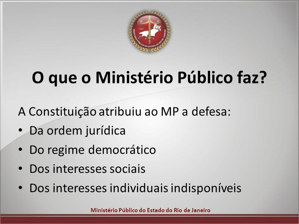 Ministério Público do Estado do Rio de Janeiro O que o Ministério Público faz? A Constituição atribuiu ao MP a defesa: Da ordem jurídica Do regime dem