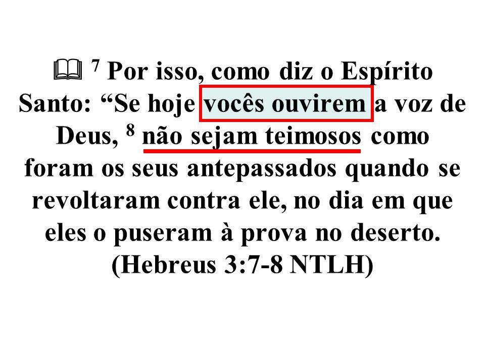  7 Por isso, como diz o Espírito Santo: Se hoje vocês ouvirem a voz de Deus, 8 não sejam teimosos como foram os seus antepassados quando se revoltaram contra ele, no dia em que eles o puseram à prova no deserto.