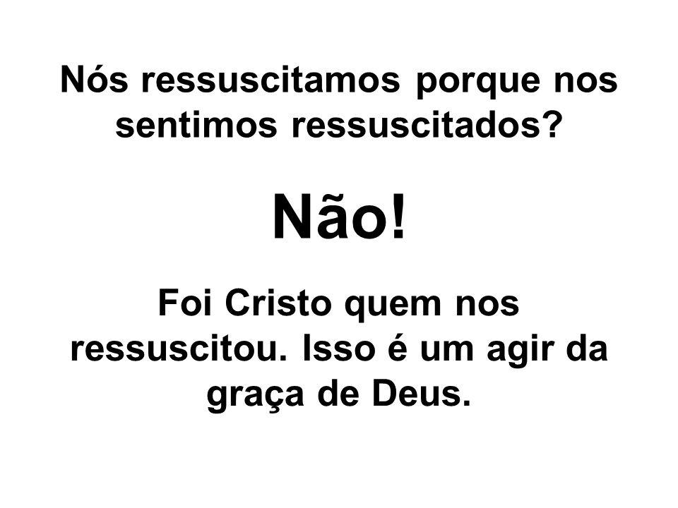 Nós ressuscitamos porque nos sentimos ressuscitados? Não! Foi Cristo quem nos ressuscitou. Isso é um agir da graça de Deus.