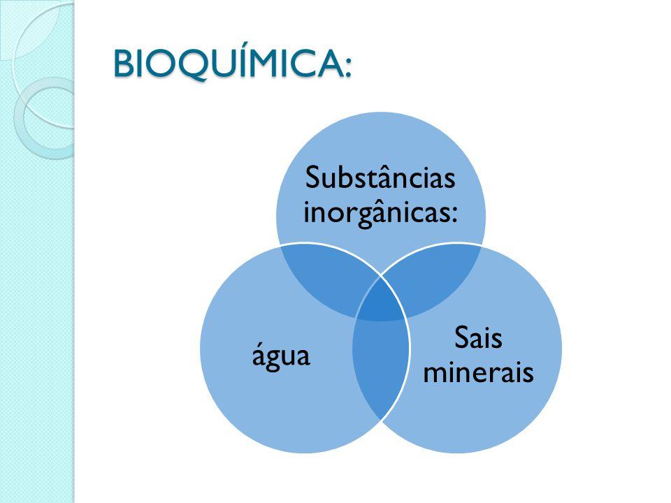 BIOQUÍMICA: Substâncias inorgânicas: Sais minerais água