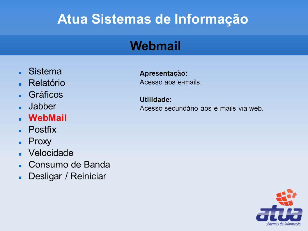 Atua Sistemas de Informação Webmail Sistema Relatório Gráficos Jabber WebMail Postfix Proxy Velocidade Consumo de Banda Desligar / Reiniciar Apresenta