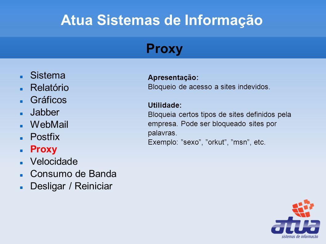 Atua Sistemas de Informação Proxy Sistema Relatório Gráficos Jabber WebMail Postfix Proxy Velocidade Consumo de Banda Desligar / Reiniciar Apresentação: Bloqueio de acesso a sites indevidos.