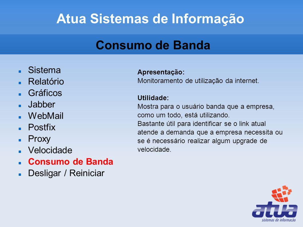 Consumo de Banda Sistema Relatório Gráficos Jabber WebMail Postfix Proxy Velocidade Consumo de Banda Desligar / Reiniciar Apresentação: Monitoramento de utilização da internet.